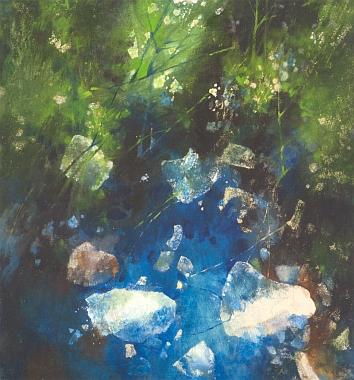Obraz V tůni (Šumava), který je dílem mého předčasně zemřelého českobudějovického spolužáka Matouše Vondráka (1943-2011), by mohl být i ilustrací k Huttigovým veršům