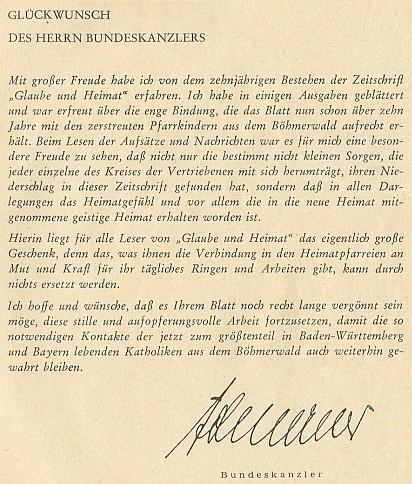 Přání spolkového kancléře Konrada Adenauera otištěné v jubilejním čísle Glaube und Heimat, odkud je převzat i Hüttlův podpis za představenstvo listu
