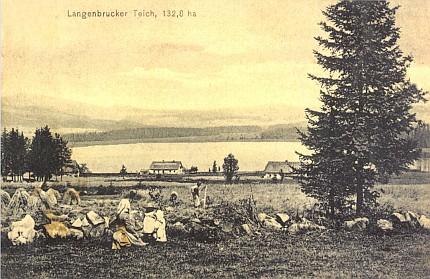 Rybník Olšina na staré pohlednici i s udáním jeho rozlohy...