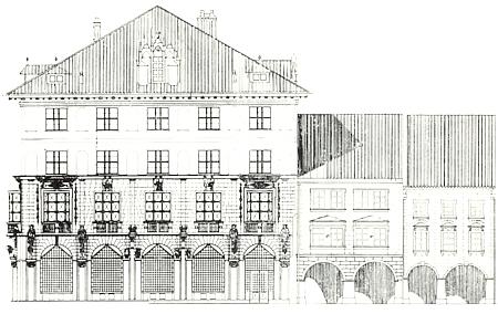 Nákres vchodové fasády banky se dvěma sousedními domy
