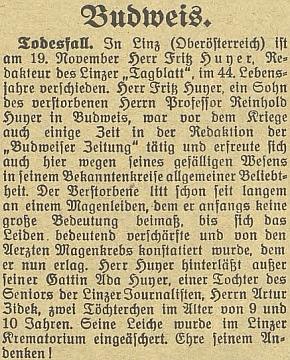 Zpráva o jeho úmrtí v českobudějovickém německémlistě