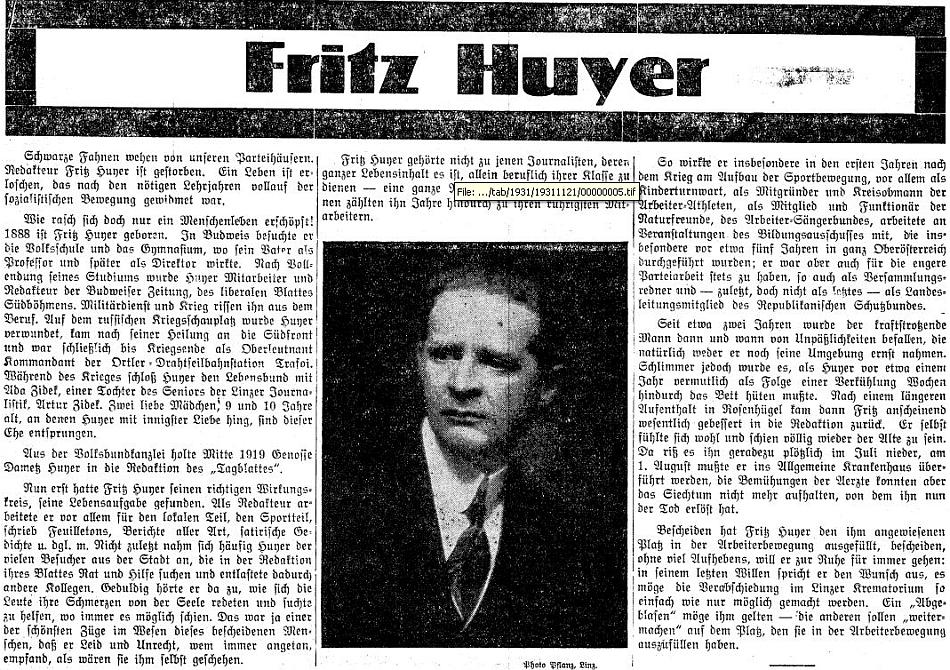 ... a nekrolog v lineckém sociálně demokratickém listě, jehož byl redaktorem