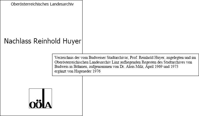 Soupis pozůstalosti Reinholda Huyera v Hornorakouském zemském archivu, pořízený Dr. Aloisem Ernstem Milzem v roce 1969 a 1973, později ještě doplněný