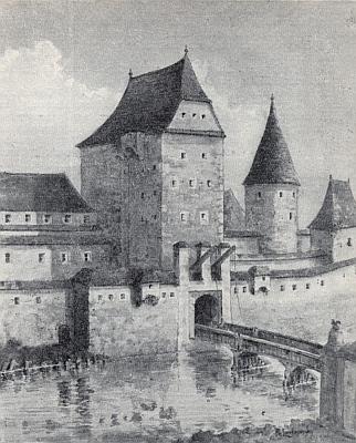 """""""Linzer"""", """"Stradonitzer"""" či """"Krumauer Tor"""", tj. Linecká, Rožnovská či Krumlovská brána na starém vyobrazení, vpravo tzv. """"Zwinger, tj. """"hradební parkán"""""""
