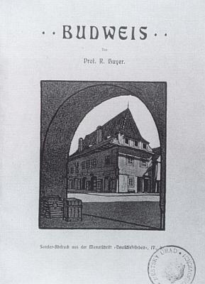 """Titulní strana separátního tisku z měsíčníku """"Deutsche Arbeit"""", resp. jeho """"budějovického čísla"""" (1905), zdobeného kresbami Karla Kostiala"""