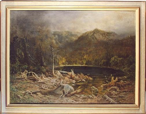 """Jejím pseudonymem signovaný obraz Plešného jezera (1871) o rozměrech 162 x 122 cm, dnes opět součást českokrumlovského zámeckého depozitáře, kdysi omylem tam označený jako """"Černé jezero na Šumavě"""""""