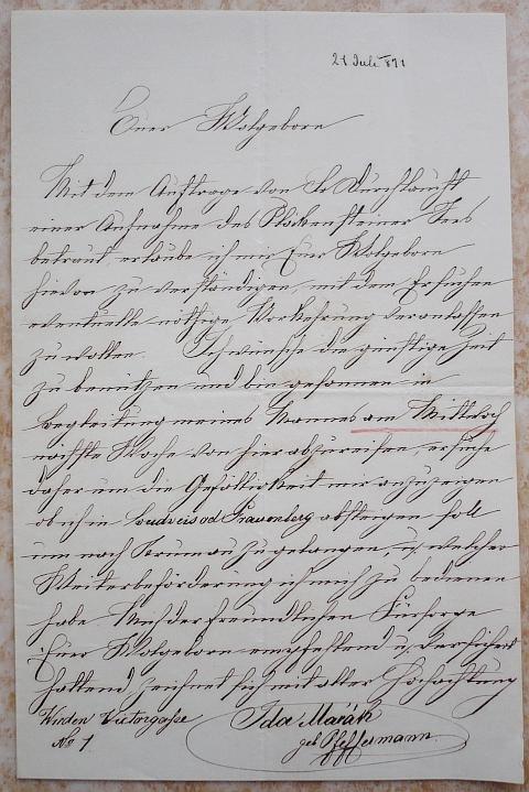 Její dopis dole signovaný s uvedením wiedenské adresy z července 1871