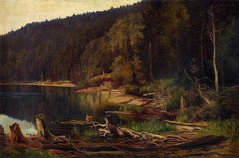 Obraz Julia Mařáka z roku 1892, uchovávaný ve sbírkách Národní galerie v Praze, zachycuje opravdu Černé jezero na Šumavě, které bylo za námět obrazu jeho ženy vydáváno mylně