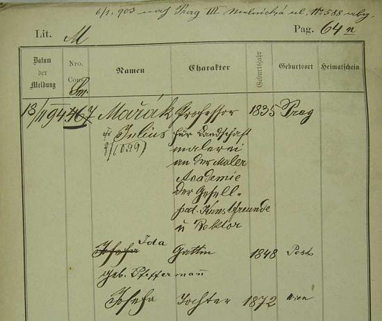 Její jméno s letopočtem a místem narození vedle manžela a dcery Josefy na pobytové přihlášce pražského policejního ředitelství
