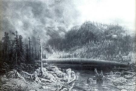 Plešné jezero na kresbě uhlem, jejímž autorem je také Julius Mařák (1832-1899)