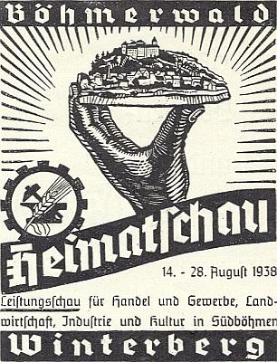 Grafická pozvánka k výstavě úspěchů obchodu a řemesel, zemědělství a kultury v jižních Čechách, konané ve Vimperku v druhé polovině srpna roku 1938, měsíc před pomnichovským záborem