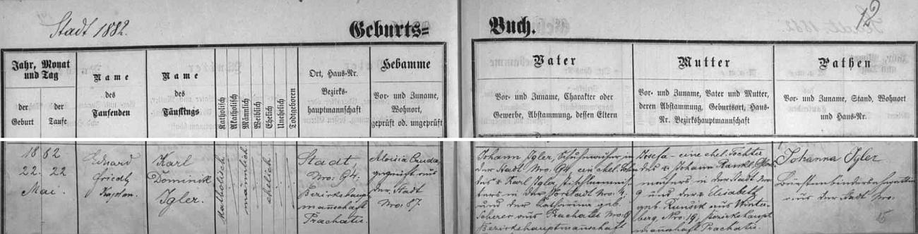 Karl Dominik Igler se podle záznamu ve farní matrice narodil v čp. 94 vimperskému ševcovskému mistru Johannu Iglerovi (jeho otec Karl truhlařil na předměstí Vimperka čp. 4, matka Katharina byla roz. Schererová z Prachatic) a jeho ženě Josefě, dceři sklenářského mistra Johanna Rankla a Elisabeth, roz. Runšikové rovněž z Vimperka