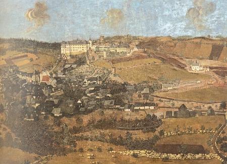 Vimperk na olejomalbě Jindřicha de Veerle, dvorního malíře Jana Kristiana I. z Eggenberku, z roku 1686, ...