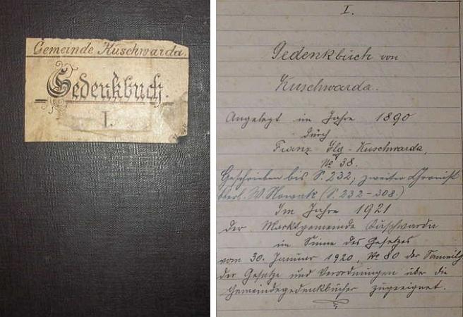 Obálka (1890) a titulní list pamětní knihy obce Kuschwarda, kterou založil a vedl po mnoho let