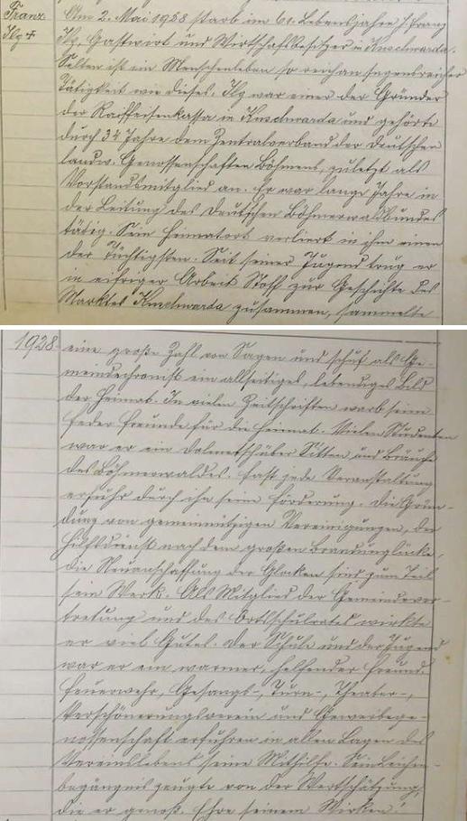 Záznam o jeho úmrtí v pamětní knize