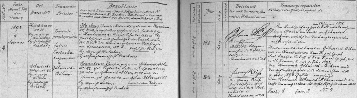 Dne 9. února roku 1892 se podle tohoto záznamu kunžvartské oddací matriky poprvé oženil, a to s dvacetiletou Theresií Spannbauerovou - jedním ze svědků byl zde výrazným způsobem podepsaný starosta obce Kunžvart Johann Blöchl