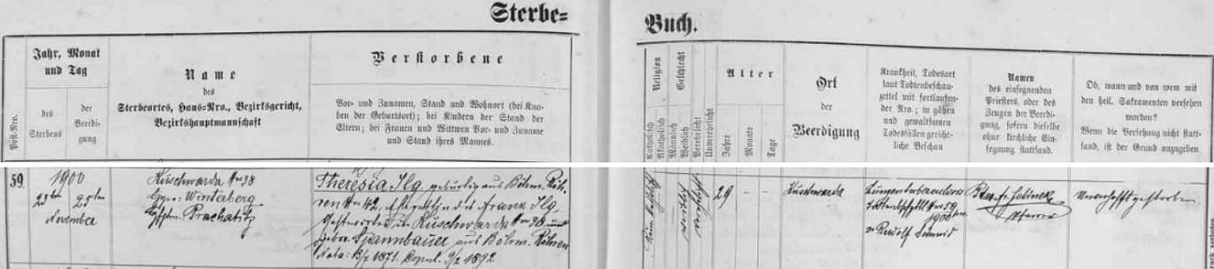 Záznam kunžvartské úmrtní matriky o skonu jeho první ženy Theresie dne 23. listopadu v 29 letech věku na souchotě, jak se tehdy říkalo po česku tak časté tuberkulóze