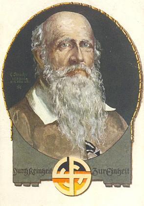 """Pohlednice Turnvereinu se symbolem """"čtyř F"""", tj. """"frisch, fromm, fröhlich, frei"""""""