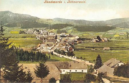 Strážný, tehdy i česky Kunžvart, na pohlednici z počátku minulého století...