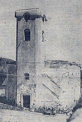 Kostel Nejsvětější Trojice ve Strážném, připravený k demolici v roce 1965 (viz iHugo Rogmans)