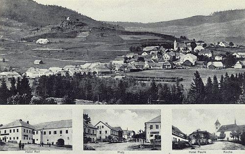 ... a na pohlednici novější, ovšem také ještě před odsunem německého obyvatelstva