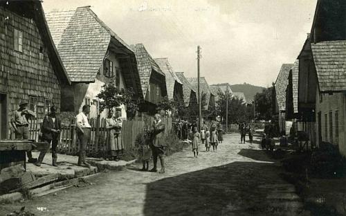 Dvě pohlednice fotografů J. Seidela a J. Wolfa zachycují i později vyhořelou část rodné obce s dřevěnými chalupami ve štítě shodnými svou typickou zkosenou půlvalbou střechy