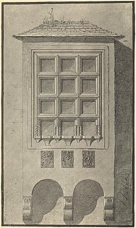 Arkýř v Českém Krumlově na kresbě, signované Karlem Liebscherem,  z Ilgovy knihy