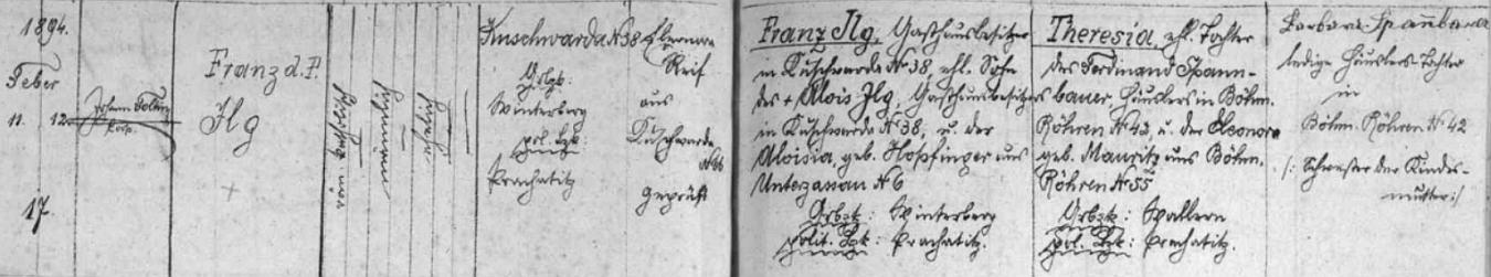 Záznam kunžvartské křestní matriky o jeho narození v rodině Franze Ilga a jeho první ženy Theresie
