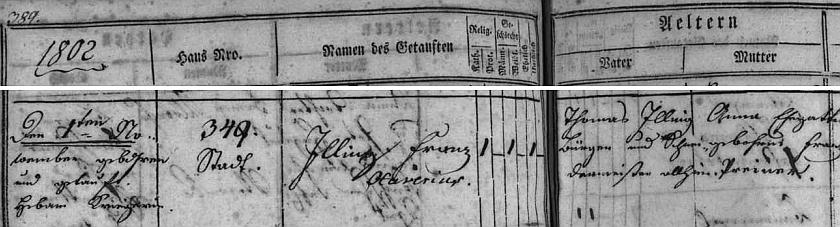 Budějovická matrika zaznamenává datum a místo jeho narození Thomasi Illingovi, zdejšímu měšťanu a krejčímu, a jeho ženě Anně, roz. Preinerové