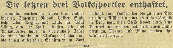"""Zpráva o propuštění posledních tří """"Volkssportlerů"""" se ocitla na titulní straně českobudějovického německého listu"""