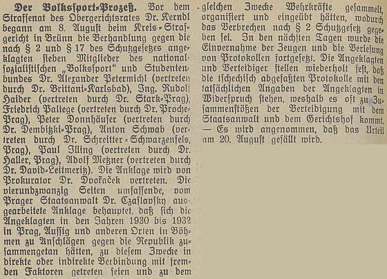 """V tzv. """"Volkssport"""" procesu ho jako studenta v roce 1932 zastupoval Dr. Haller"""