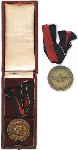 """Líc a rub medaile jednotkám wehrmachtu, které se podílely na obsazení """"Sudet"""" roku 1938"""