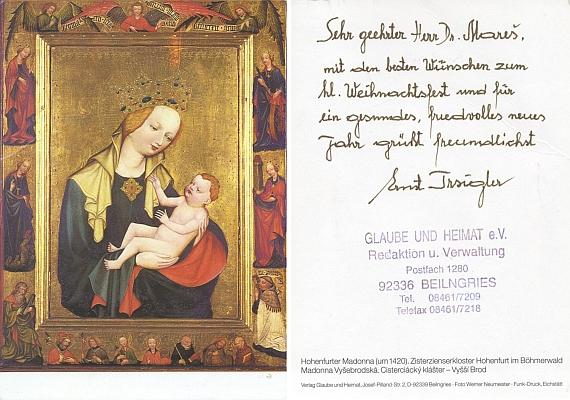 Vánoční přání s Vyšebrodskou Madonou autorovi Kohoutího kříže