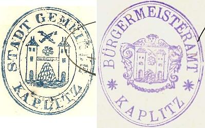 Úřední razítka města Kaplice z let 1866 a 1896