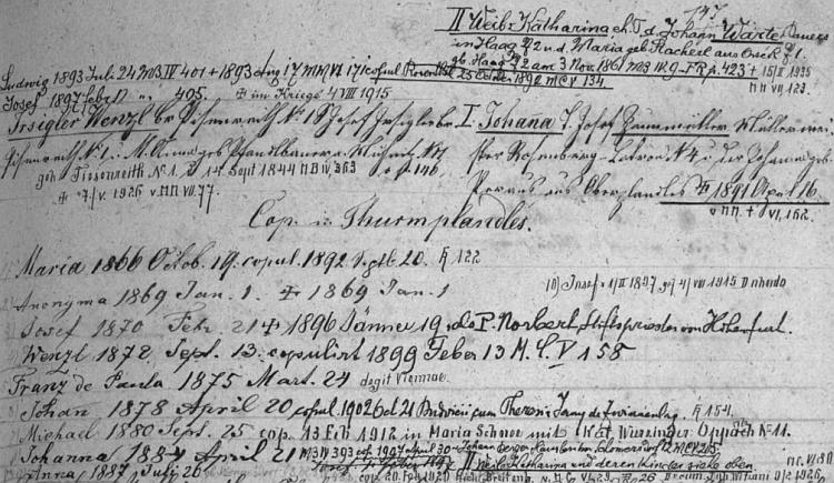 """Obsáhlý záznam """"rodového katastru"""" farní obce Rožmitál na Šumavě podrobně zachycuje dvojí manželství jeho otce Wenzla Irsiglera a děti, které z obou svazků vzešly (bylo jich dohromady jedenáct)"""