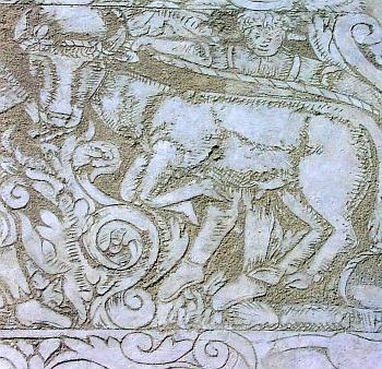 Motiv dobytčího trhu na sgrafitu z roku 1605, které zdobí fasádu jednoho z domů (čp. 215) na kaplickém náměstí