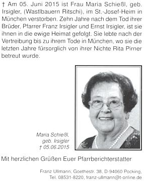 Zpráva o úmrtí jeho sestry Marie, provd. Schießlové, na stránkách krajanského měsíčníku