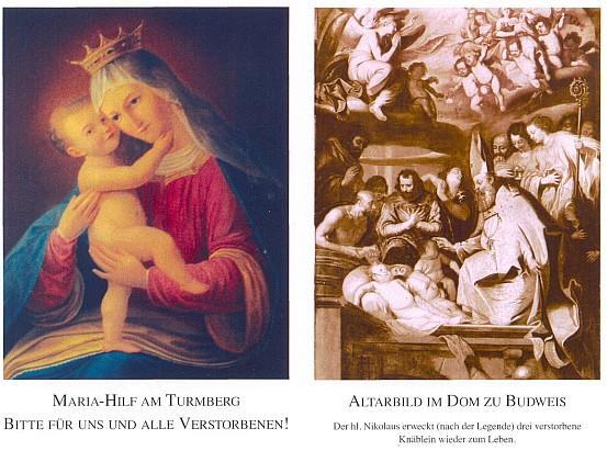 Líc a rub úmrtního oznámení s obrazem Marie Pomocné z Turmbergu a malbou z hlavního oltáře českobudějovické katedrály, na níž svatý Mikuláš probouzí tři zemřelé chlapce k životu