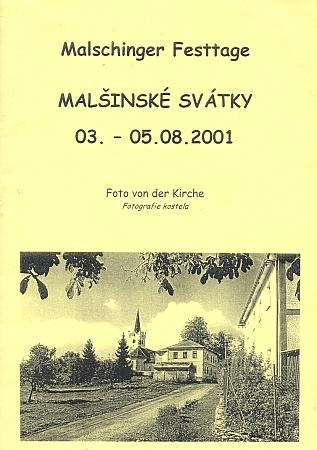 Obálka brožury k vysvěcení tří nových zvonů vMalšíně u příležitosti zlatého jubilea jeho kněžství