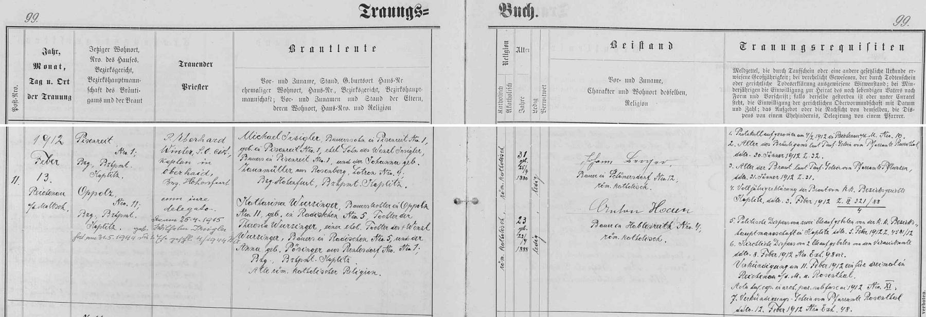 Záznam o svatbě jeho rodičů v oddací matrice farní obce Rychnov nad Malší