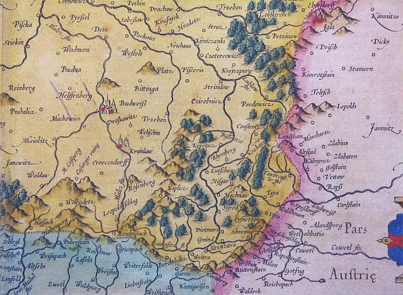 Mapa Čech Gerharda Messnera z roku 1585 zachycuje lesnatou hranici při Weitře jako území náležející převážně nikoli k Rakousku