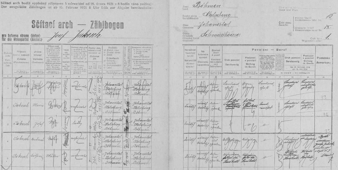 Arch sčítání lidu z roku 1921 pro stavení čp. 15 v Kovářově (Schmiedhäuser), kde tehdy bydlil jeho bratr Josef (*4. února 1884) se svou ženou Marií (*5. září 1886) a synem Josefem (*18. března 1909), jakož i rodiče obou bratří Andreas Jakesch (*21. listopadu 1858) a jeho žena Katharina (*9. července 1856) - u všech je jako místo narození uvedena obec Jánské Údolí (Johannesthal), jejíž byl Kovářov osadou