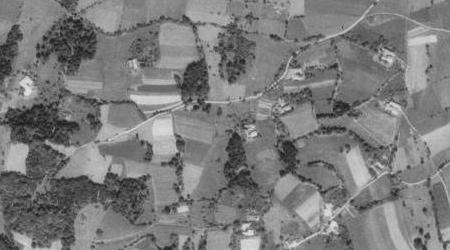 Kovářov na leteckých snímcích z let 1952 a 2011