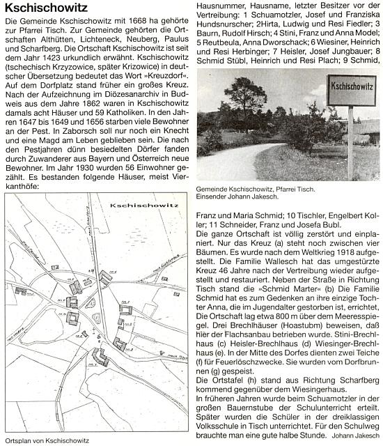 Jeho text o zaniklé vsi Křížovice doprovodil i její plánek