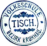 Razítko německé školy ve Ktiši