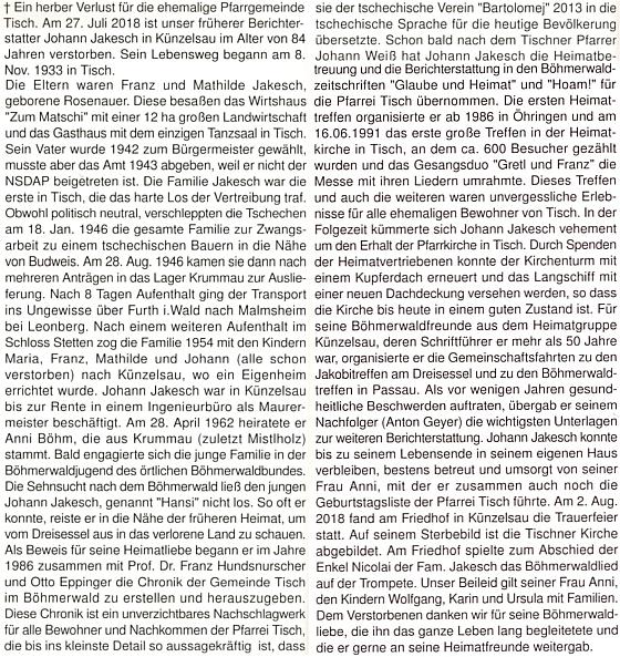 """Nekrolog na stránkách krajanského měsíčníku, kde najdeme i zmínku o nucené práci u sedláka v okolí Českých Budějovic a pobytu v českokrumlovském""""sběrném"""" lágru"""