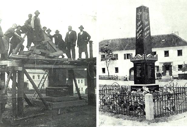 Vztyčení památníku padlých v rodné Ktiši roku 1924, kdy ještě nebyl na světě (viz i Jürgen Thorwald)