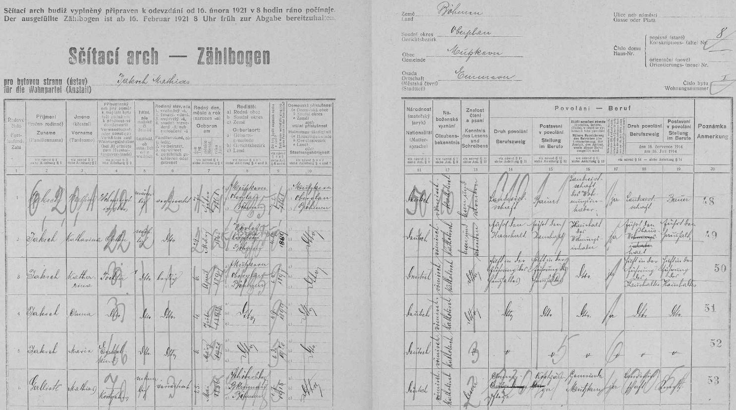 Arch sčítání lidu z roku 1921 pro dům čp. 8 v Bednářích, kde už jsou s rodiči uvedeny jen dvě otcovy sestry Karharina (*1897) a Anna (*1899), otec už nikoli