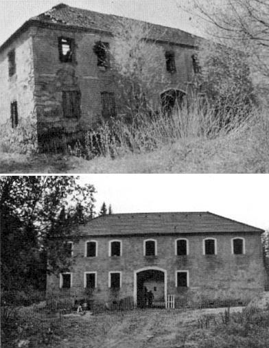 Ruina domu v Bednářích, kde se narodil, na snímku z roku 1998 a deset let nato sviditelnýmiznámkamiobnovy