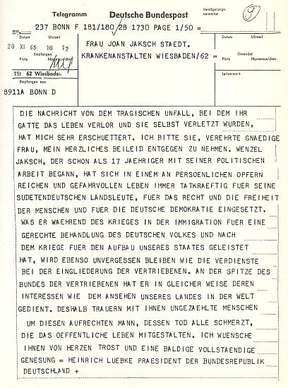 Spolkový prezident Lübke poslal po Jakschově smrtelné autonehodě tento telegram vdově po něm